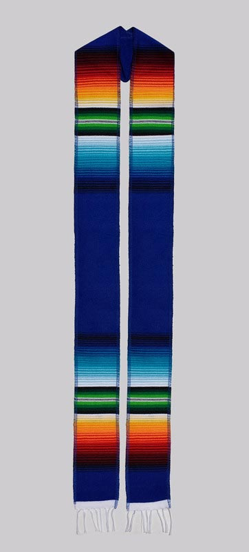 Blue Embroidered Sash